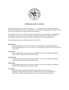 Reading Specialist Curriculum 11-12