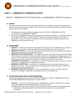 WCFCA Emergency Communications & RIC Policy 2014 (D004)