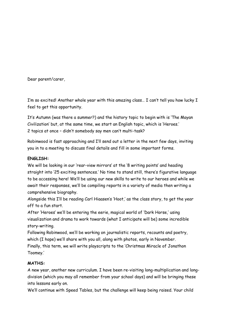 Autumn Curriculum Letter - Netherthong Primary School