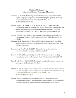 A Selected bibliography of int`l student teaching and learning