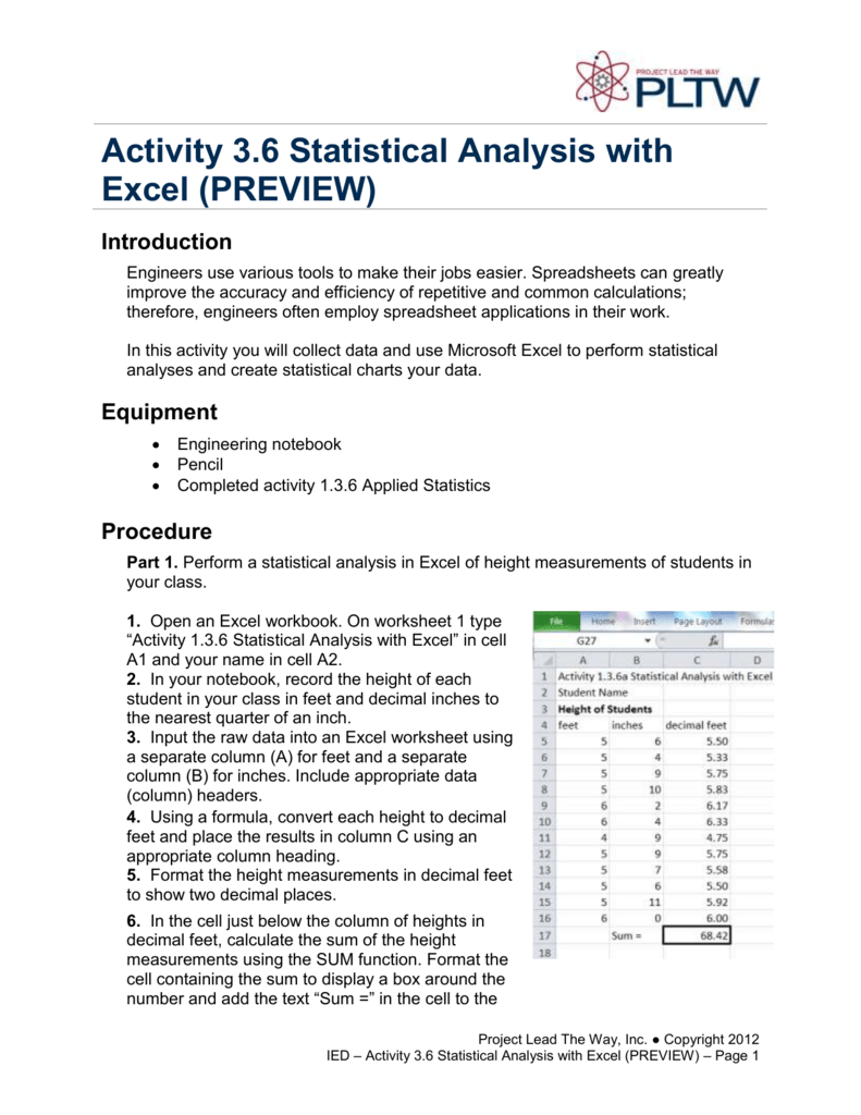 Activity 3 6 Statistical Analysis with Excel (PREVIEW