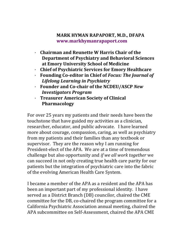 mark hyman rapaport, m - New York State Psychiatric Association
