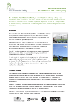 APPF Phenomics Infrastructure for Excellence in Plant Science