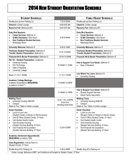 2014 New Student Orientation Schedule Student Schedule Family