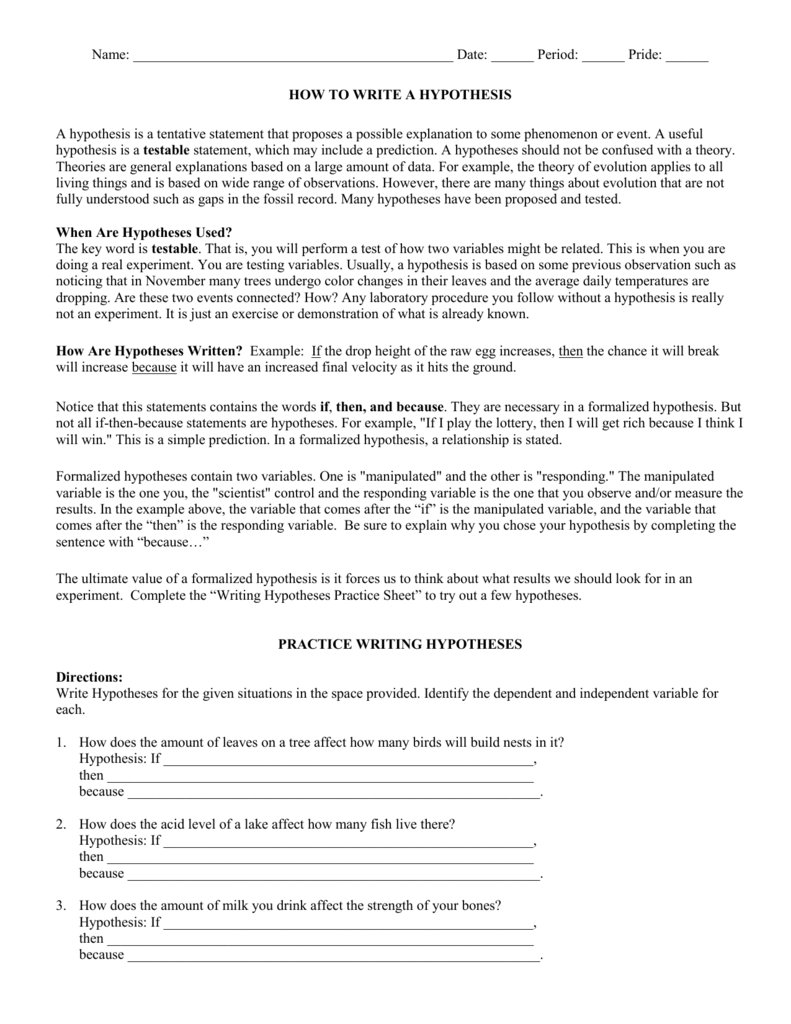 How to Write a Hypothesis – Writing a Hypothesis Worksheet