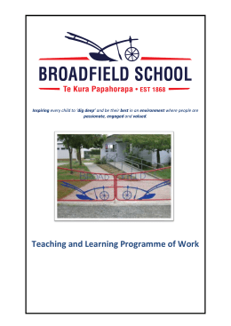 Broadfield Curriculum Overview 2013