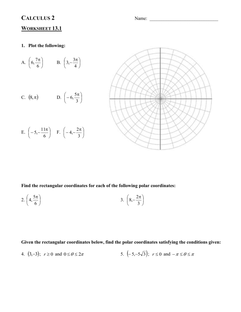 worksheet Polar Coordinates Worksheet ch 13 worksheet packet