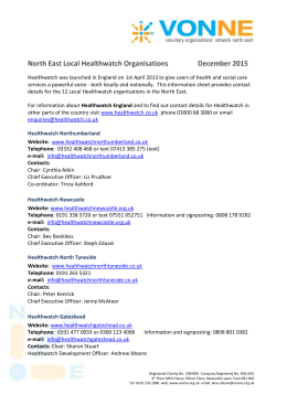 NE Local Healthwatch Organisations December 2015