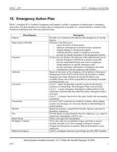 H.15. Emergency Action Plan - Distance Education and Training