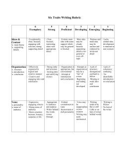 writing traits rubric An easy way to evaluate student writing is to create a rubric this allows you to help students improve their writing skills by determining what area they need help in first, read through the students' writing assignment completely next, read each criterion on the rubric and then re-read the .