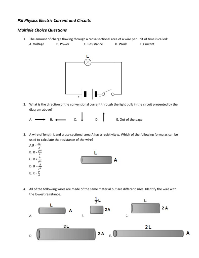 Electric Current & Circuits Multiple Choice | 177.0KB