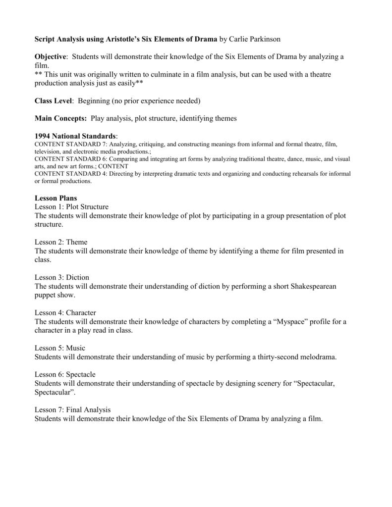 Worksheets Elements Of Drama Worksheet play analysis using aristotles six elements of drama unit of