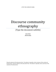 Discourse community ethnography