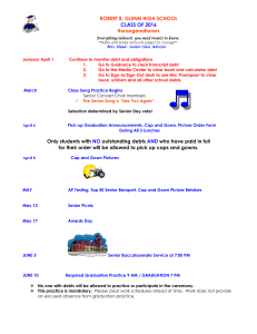 2016 Senior Calendar of Events