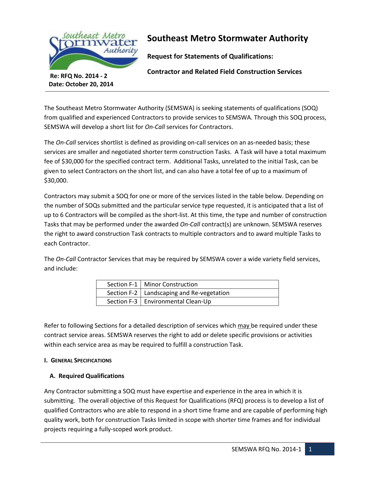 RFQ 2014-2 for Contractors - Southeast Metro Stormwater