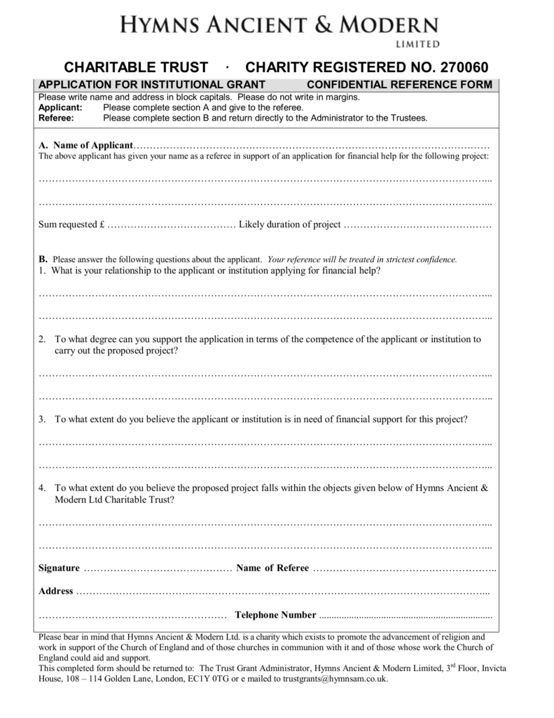 HA&M Charitable Trust Reference Form