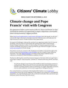 Climate Change and Pope Francis` Visit to Congress