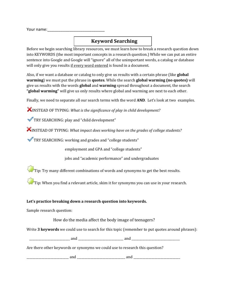 Library Orientation worksheet