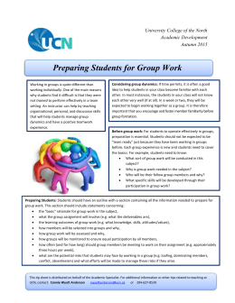 Preparing Students for Group Work 2015
