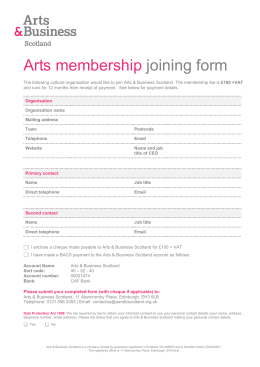 Arts Membership Joining Form