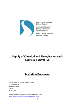 Supply of Chemical and Biological Analysis Services
