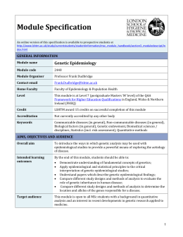 2448 Genetic Epidemiology Module Specification