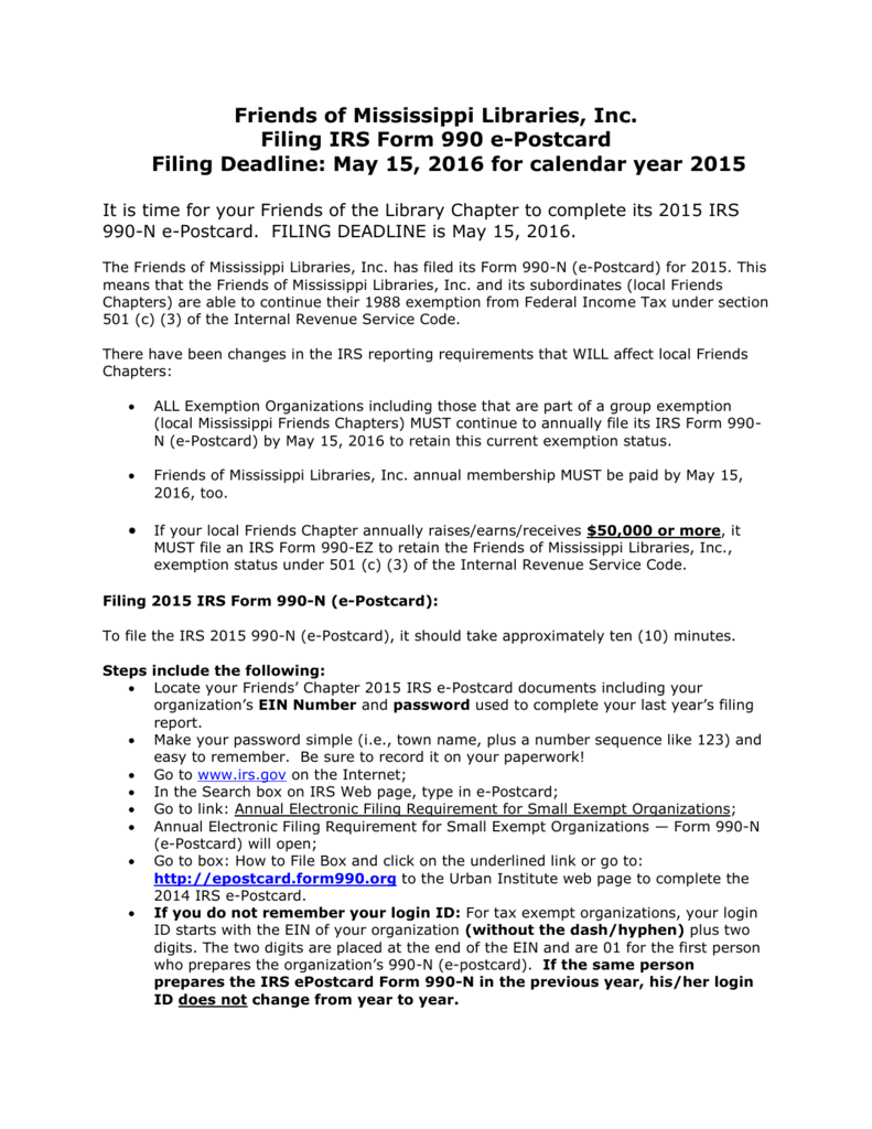 Filing IRS Form 990 e-Postcard – 2015 Instructions