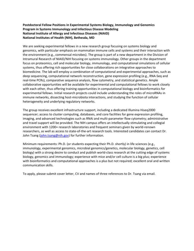 Postdoctoral Fellow Positions In Experimental Systems Biology