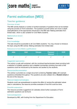Fermi estimation