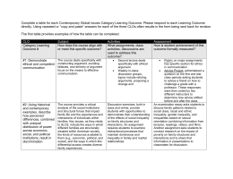 Complete a table for each Contemporary Global Issues