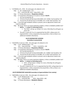 Arterial Blood Gas Practice Questions * Answers