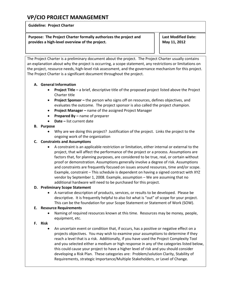 Project Charter Guideline