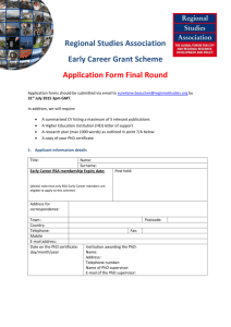 RSA Early Career Application Form - Final Round 2015