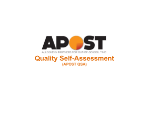 Quality Self-Assessment (APOST QSA)