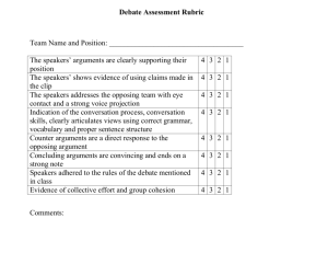Click here for sample of Debate assessment rubric