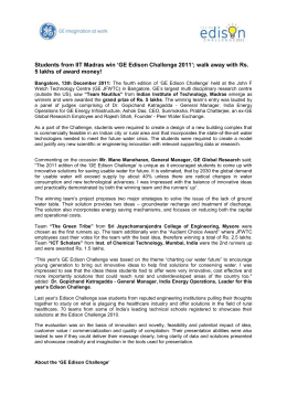 the Press Release on the winners of GE Edison