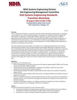 DoD Systems Engineering Standards Transition Workshop