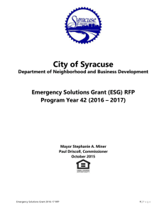 Emergency Solutions Grant (ESG) RFP