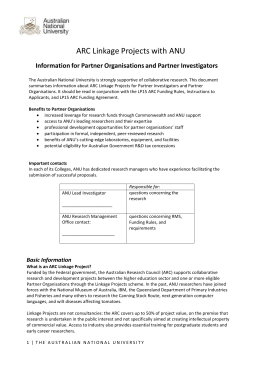 Info Sheet for Linkage Partner Organisations - Services