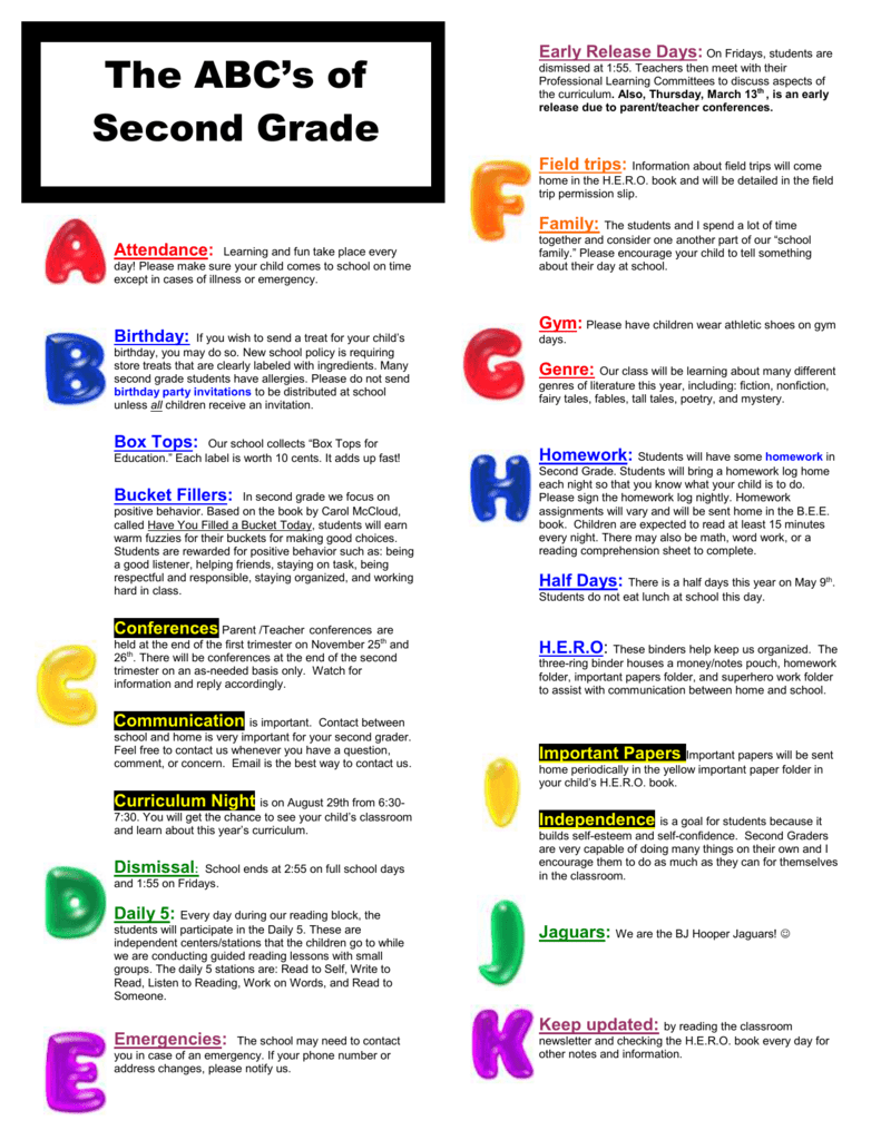 Parents Why Our Second Grader Is Not >> Abc S Of 2nd Grade Lake Villa School District 41