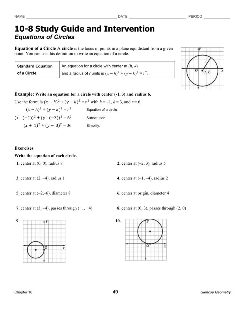 Equations Of Circles Worksheet