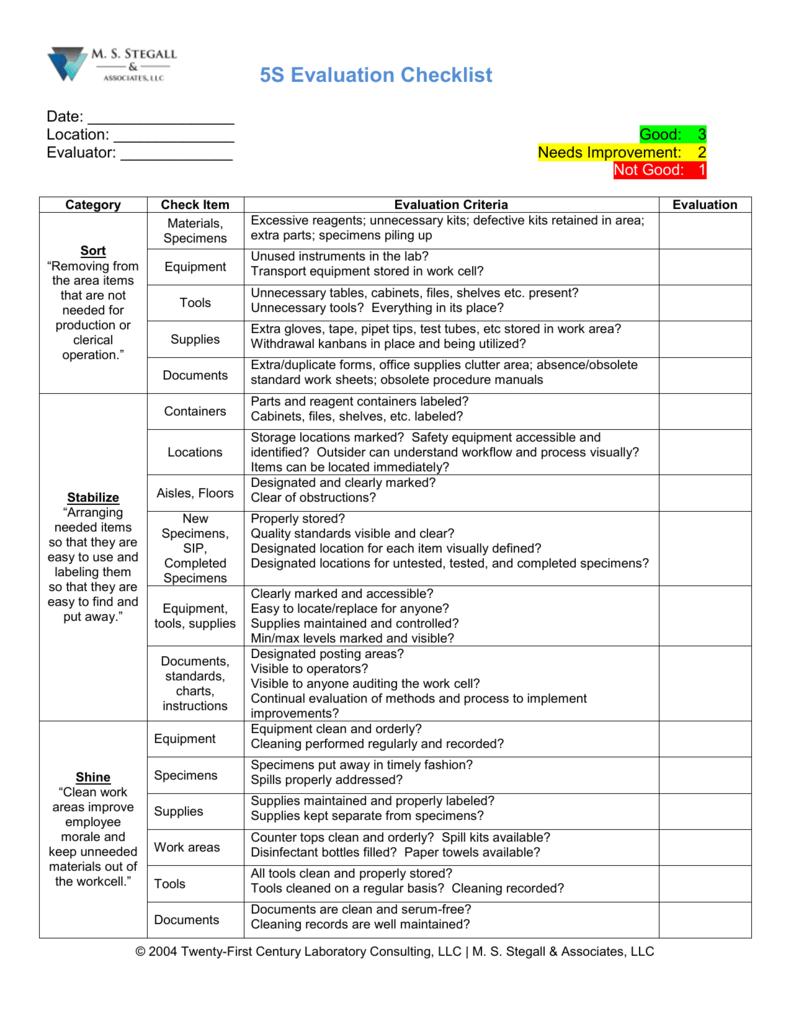 5S Evaluation Checklist