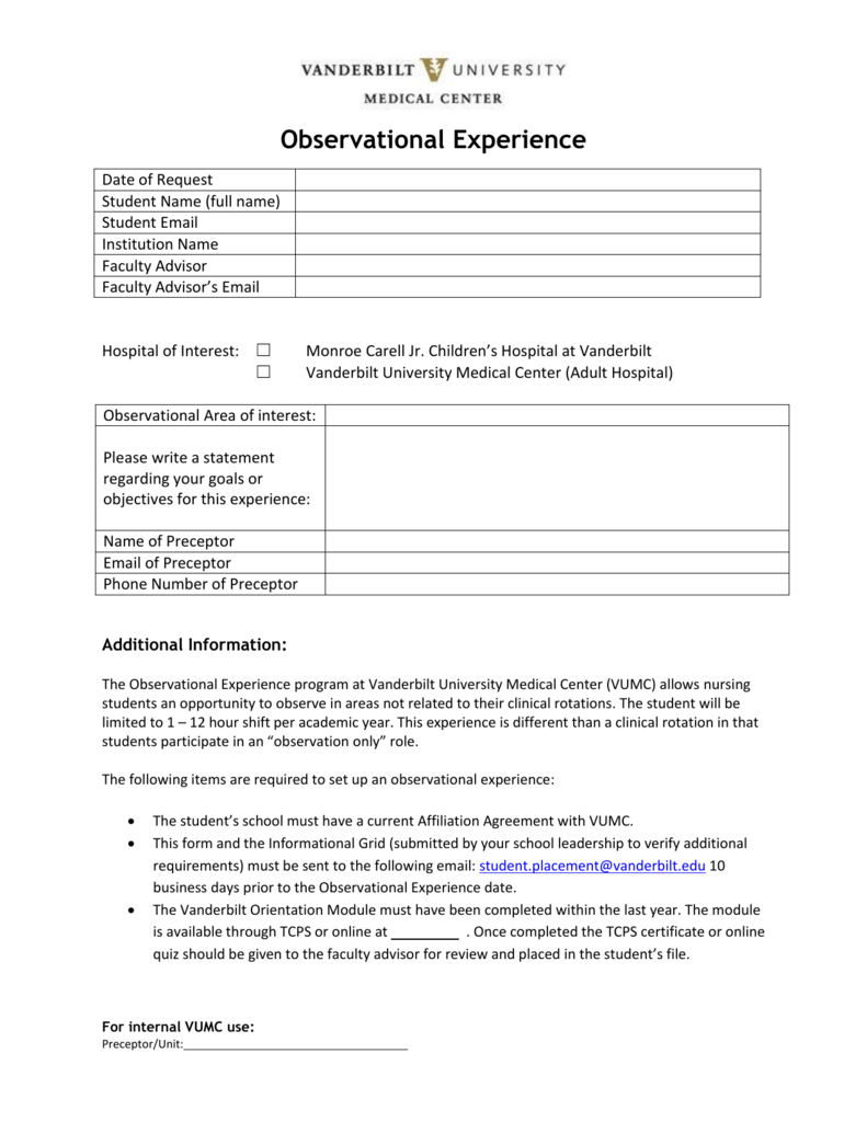 Observational Experience - Vanderbilt University Medical Center