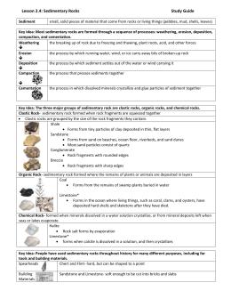 on line sedimentary rock identification lab