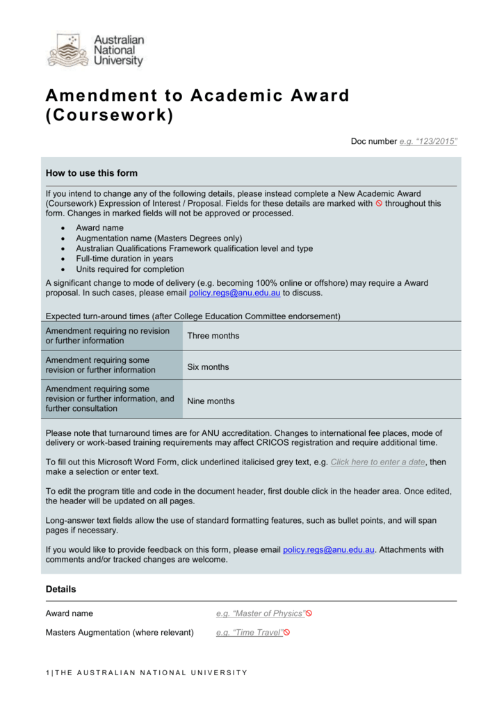 anu coursework award rules
