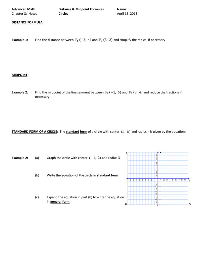 Advanced Math Distance Midpoint Formulas Name Chapter 8 – Midpoint and Distance Formula Worksheet