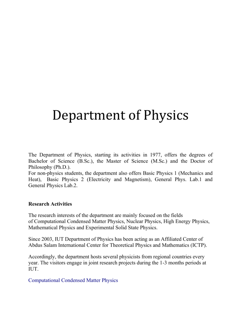 Department of Physics Isfahan University of Technology