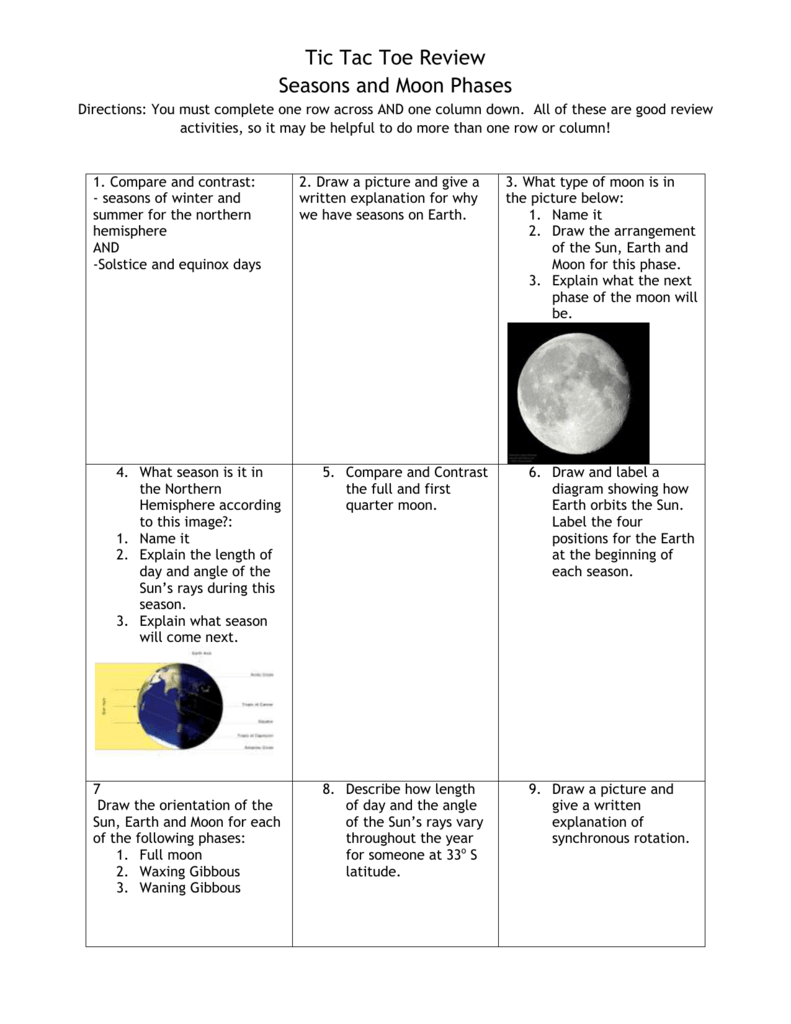 1 Compare And Contrast Seasons Of Winter Summer For The Diagram Moon Phases