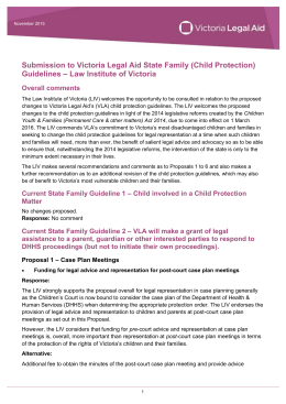 LIV submission to State Family (Child Protection