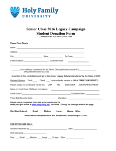 Senior Class 2016 Legacy Campaign Student Donation Form